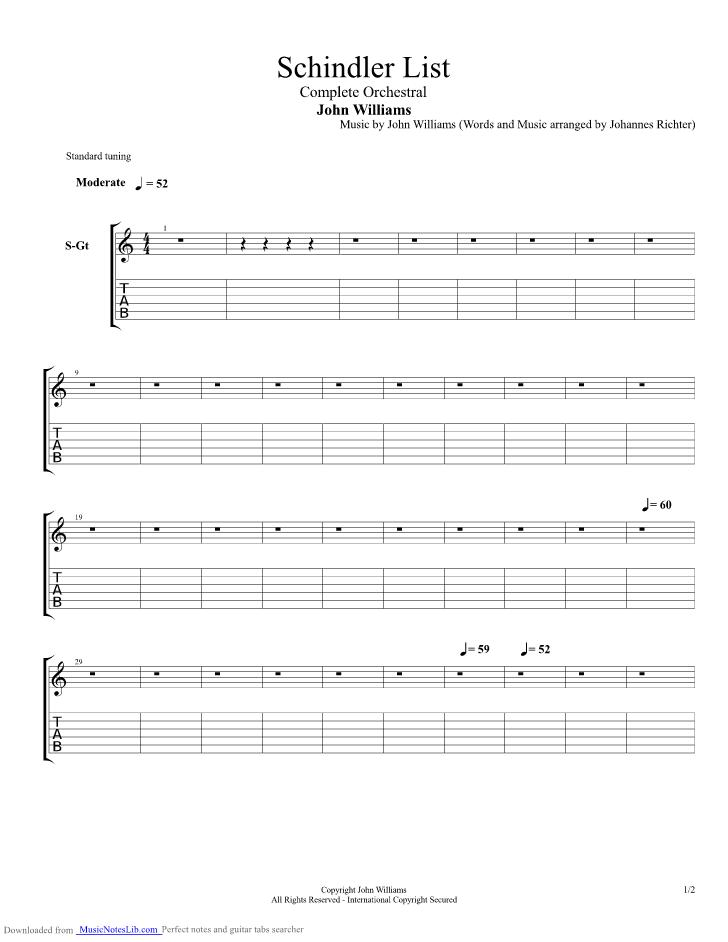 Schindler List guitar pro tab by Jurassic Park @ musicnoteslib.com