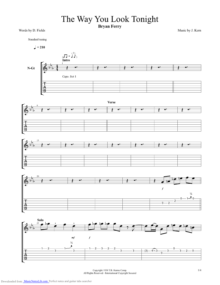 The Way You Look Tonight Guitar Pro Tab By Brian Ferry