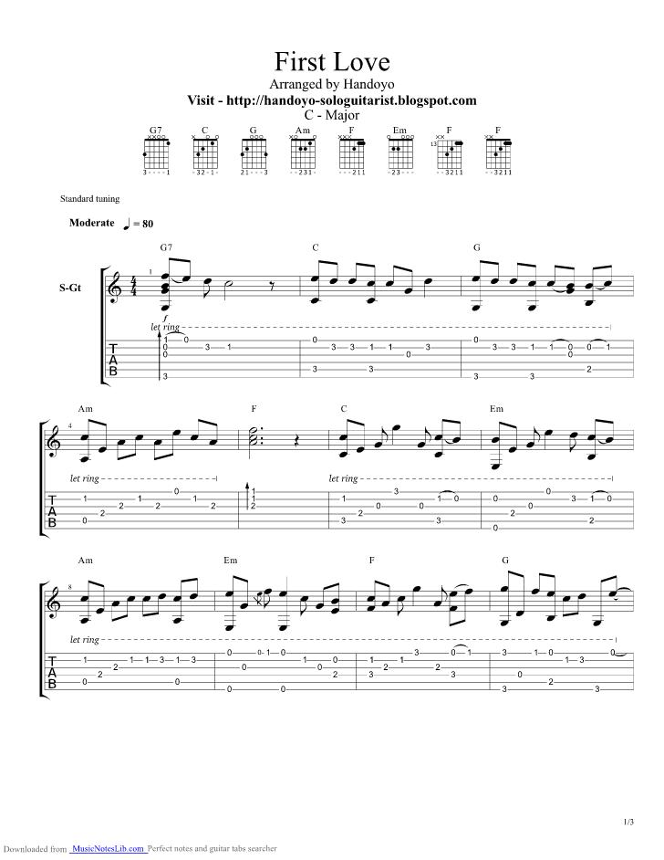 First Love Guitar Pro Tab By Utada Hikaru Musicnoteslib