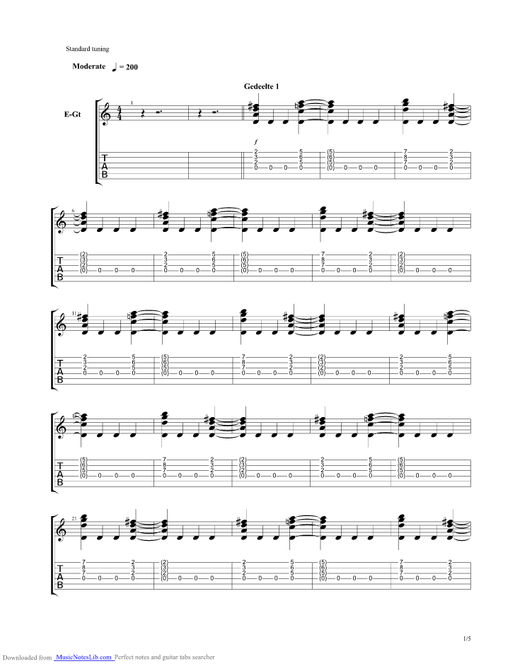 Saturday Night guitar pro tab by Herman Brood @ musicnoteslib com