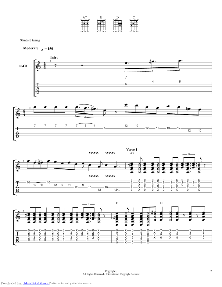 Alabama Getaway guitar pro tab by Grateful Dead @ musicnoteslib.com