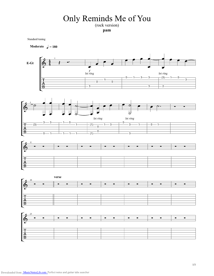 Only Reminds Me Of You guitar pro tab by Yeng Constantino ...