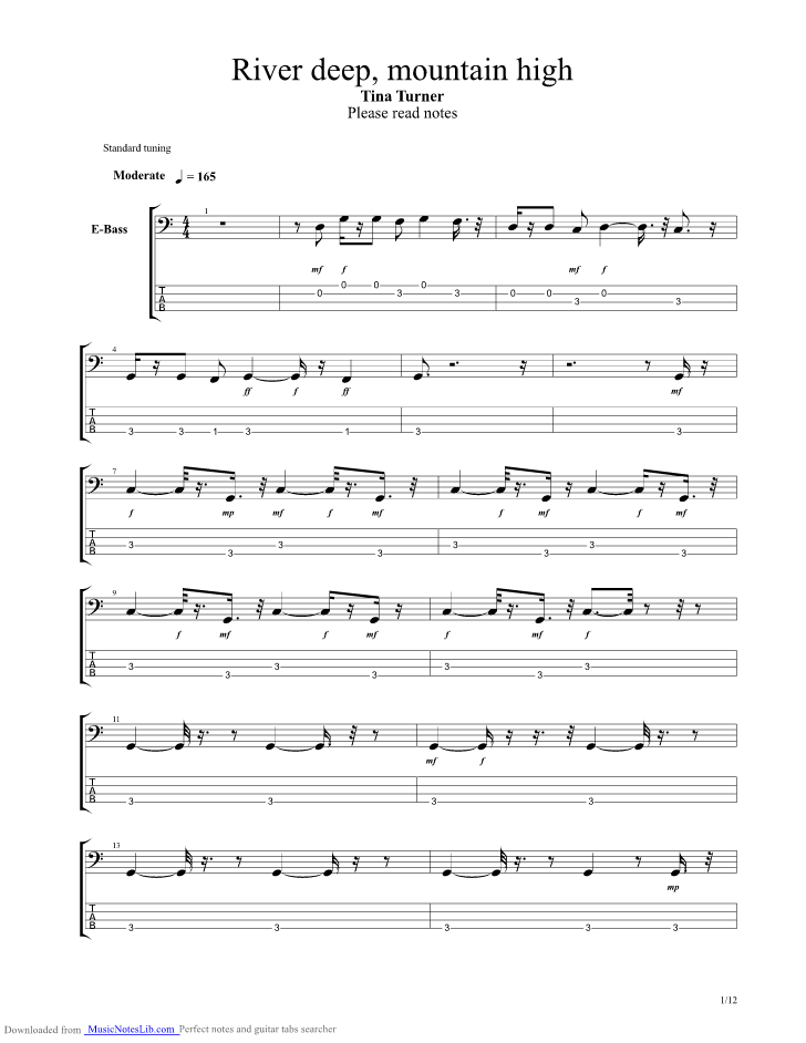 River Deep Mountain High Guitar Pro Tab By Tina Turner