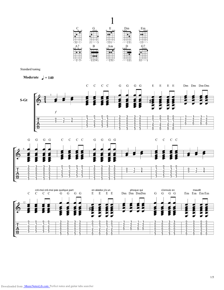 partition guitare dommage