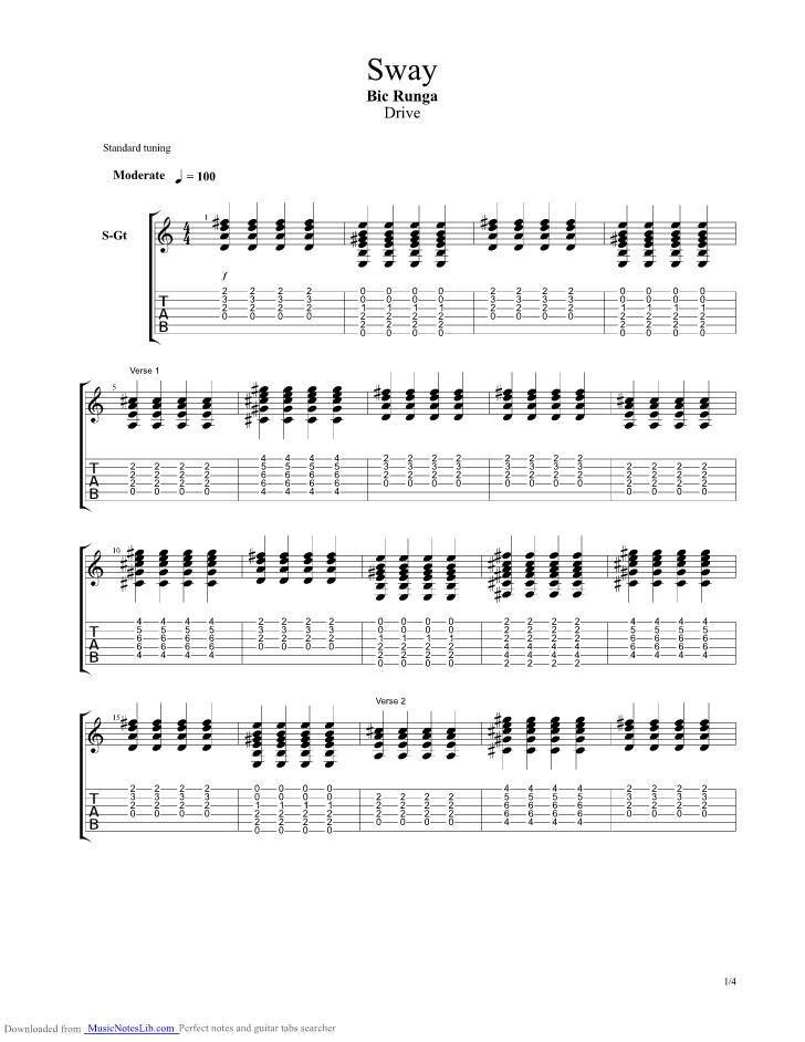 Sway guitar pro tab by Bic Runga @ musicnoteslib.com