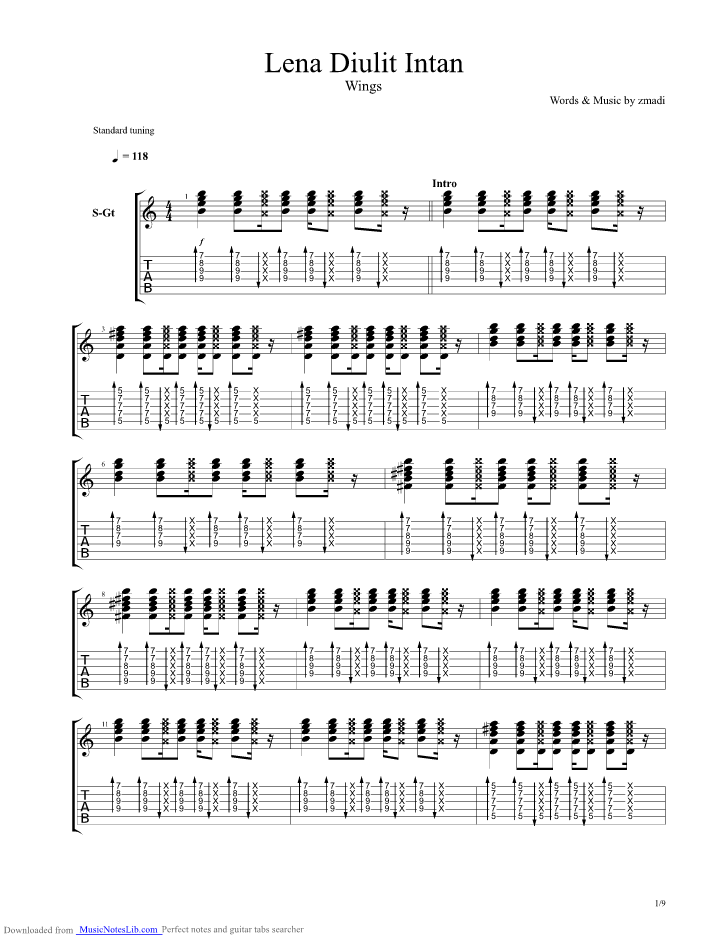 Lena Diulit Intan Guitar Pro Tab By Wings Musicnoteslib