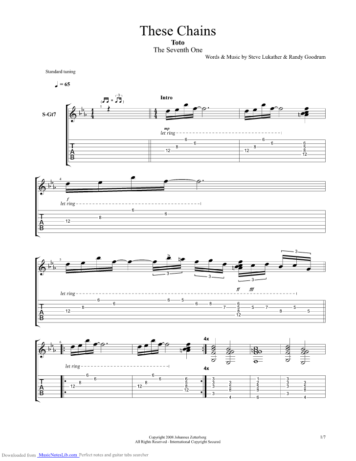 These Chains Guitar Pro Tab By Toto Musicnoteslib