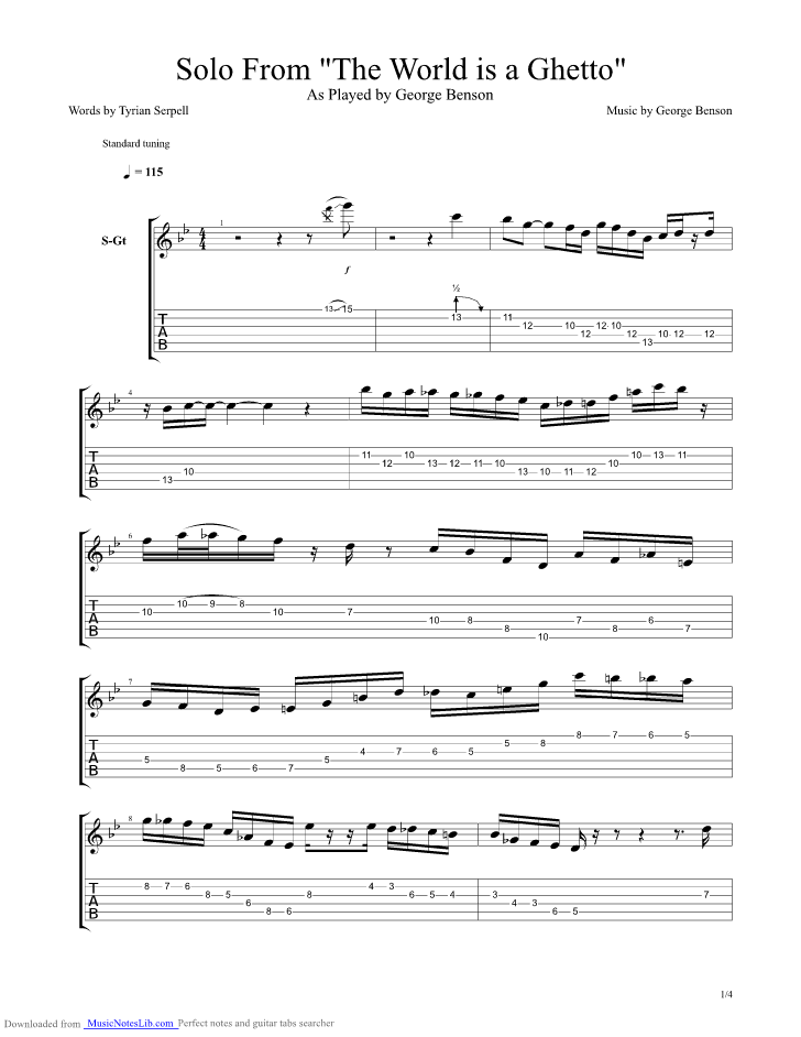 The World Is A Ghetto Guitar Pro Tab By George Benson