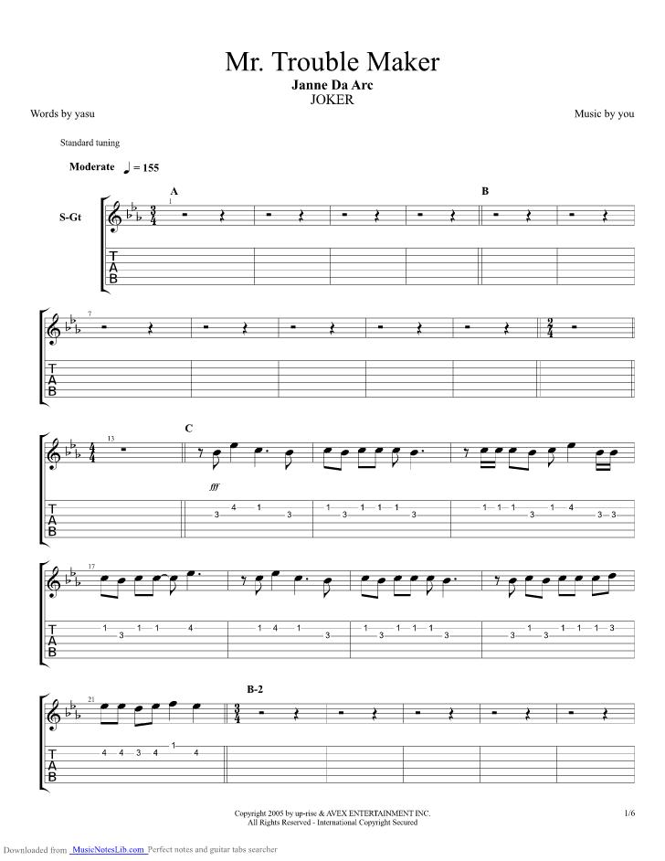 Mr Trouble Maker guitar pro tab by Janne Da Arc