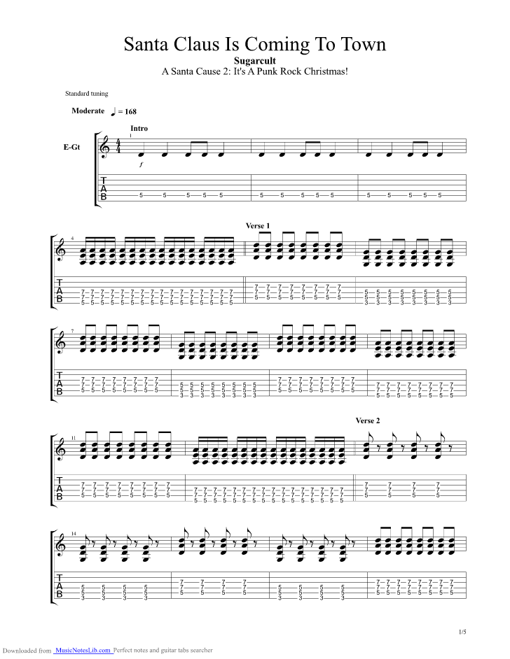 Santa Claus Is Coming To Town Guitar Pro Tab By Sugarcult