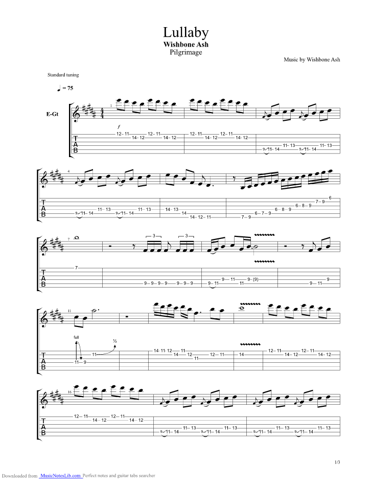 Lullaby Guitar Pro Tab By Wishbone Ash Musicnoteslib