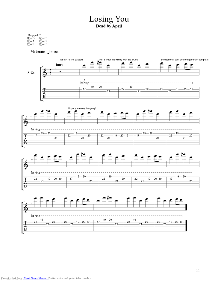 Losing You Guitar Pro Tab By Dead By April Musicnoteslib