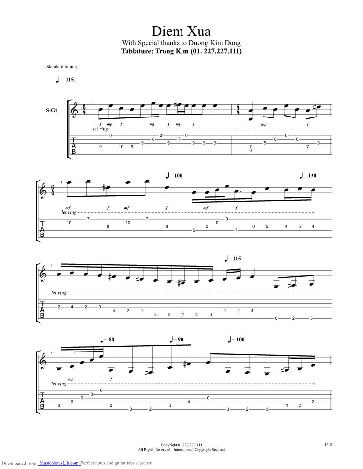 Diem xua guitar pro tab by Trinh Cong Son @ musicnoteslib.com