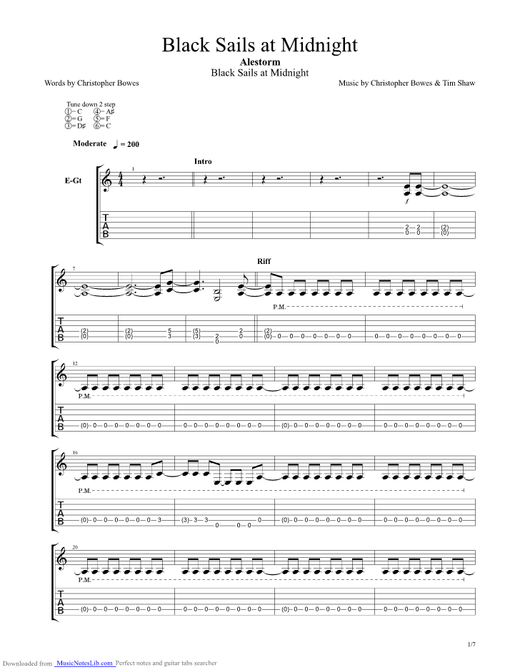 Black Sails Sheet Music Erkalnathandedecker