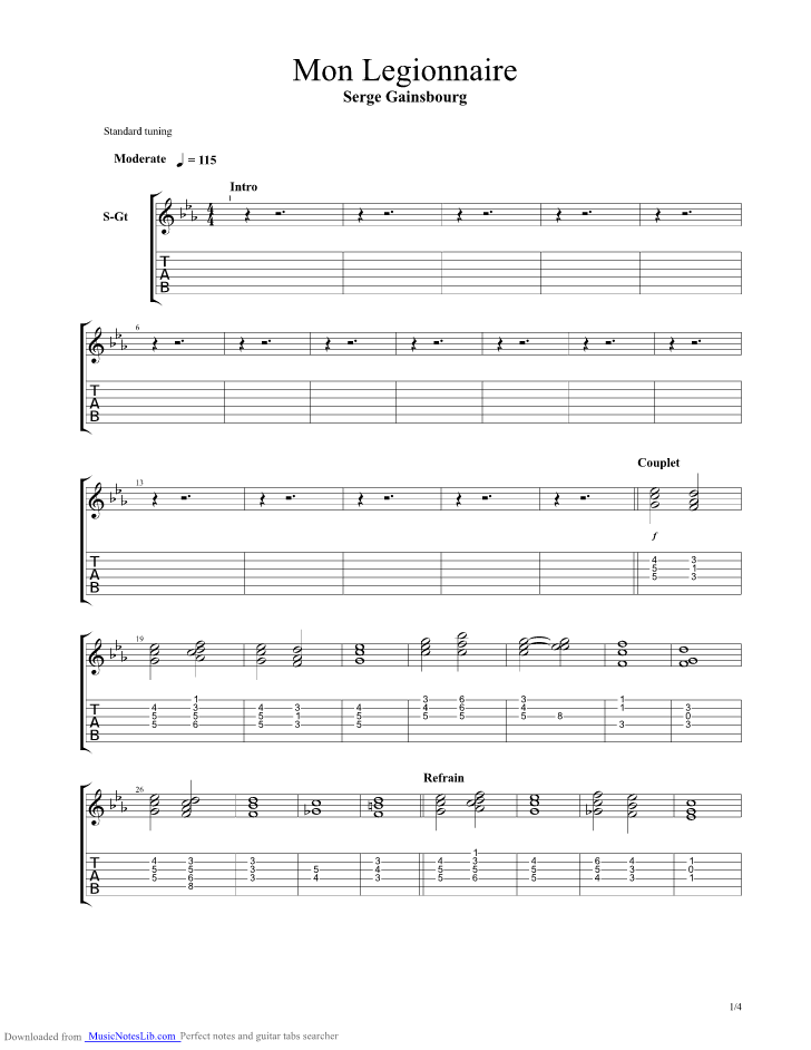 Mon Legionnaire Guitar Pro Tab By Gainsbourg Musicnoteslib