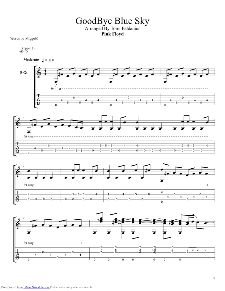 Goodbye Blue Sky Guitar Pro Tab By Tomi Paldanius