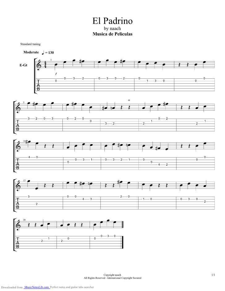 Godfather Theme guitar pro tab by Misc Soundtrack @ musicnoteslib.com