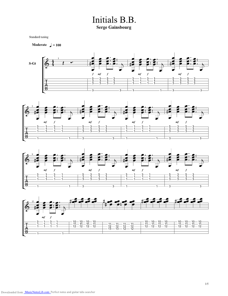 Initials Bb Guitar Pro Tab By Gainsbourg Musicnoteslib