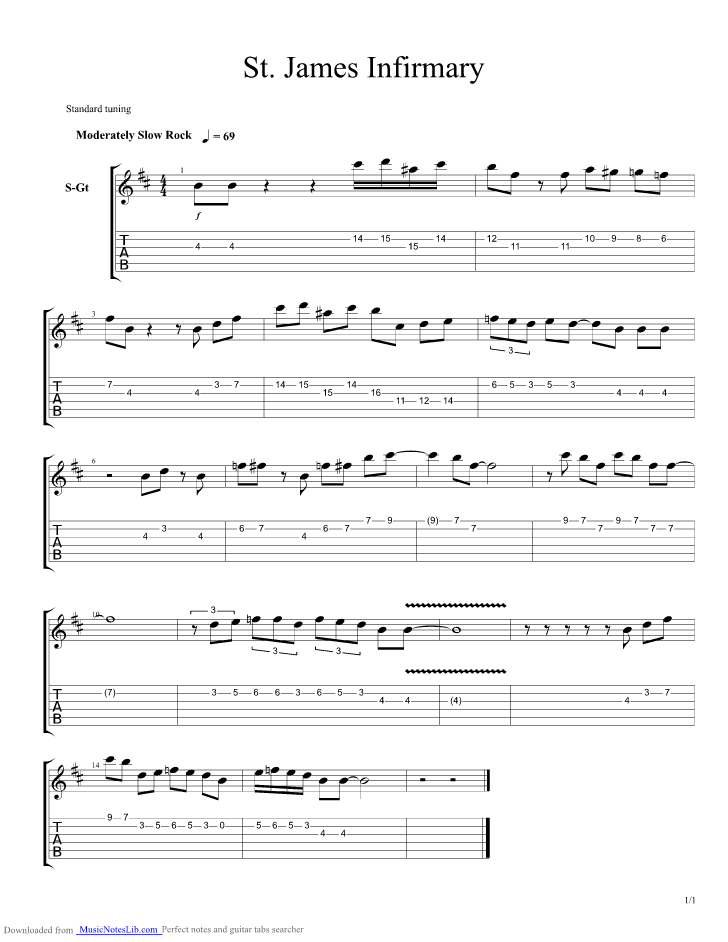 St James Infirmary guitar pro tab by Louis Armstrong @ musicnoteslib.com