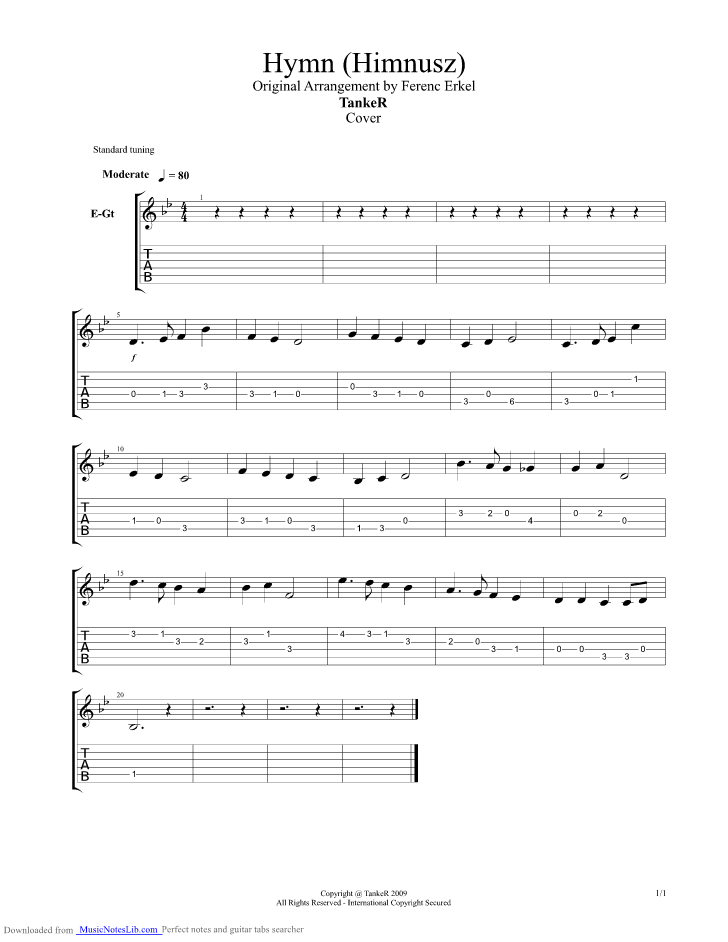 Hungarian National Anthem Guitar Pro Tab By Misc Traditional