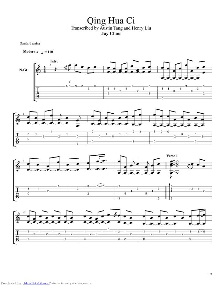Qing Hua Ci guitar pro tab by Jay Chou @ musicnoteslib.com