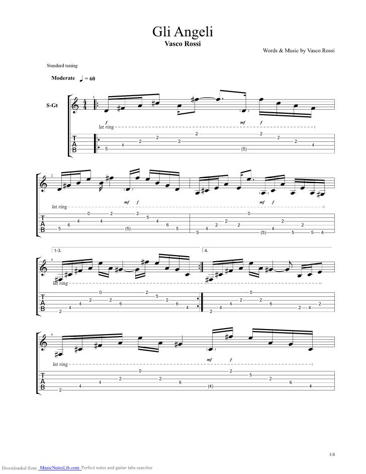 Gli Angeli Guitar Pro Tab By Vasco Rossi Musicnoteslib Com