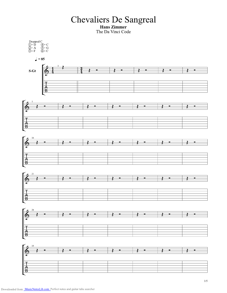 Chevaliers De Sangreal Guitar Pro Tab By Hans Zimmer Musicnoteslib
