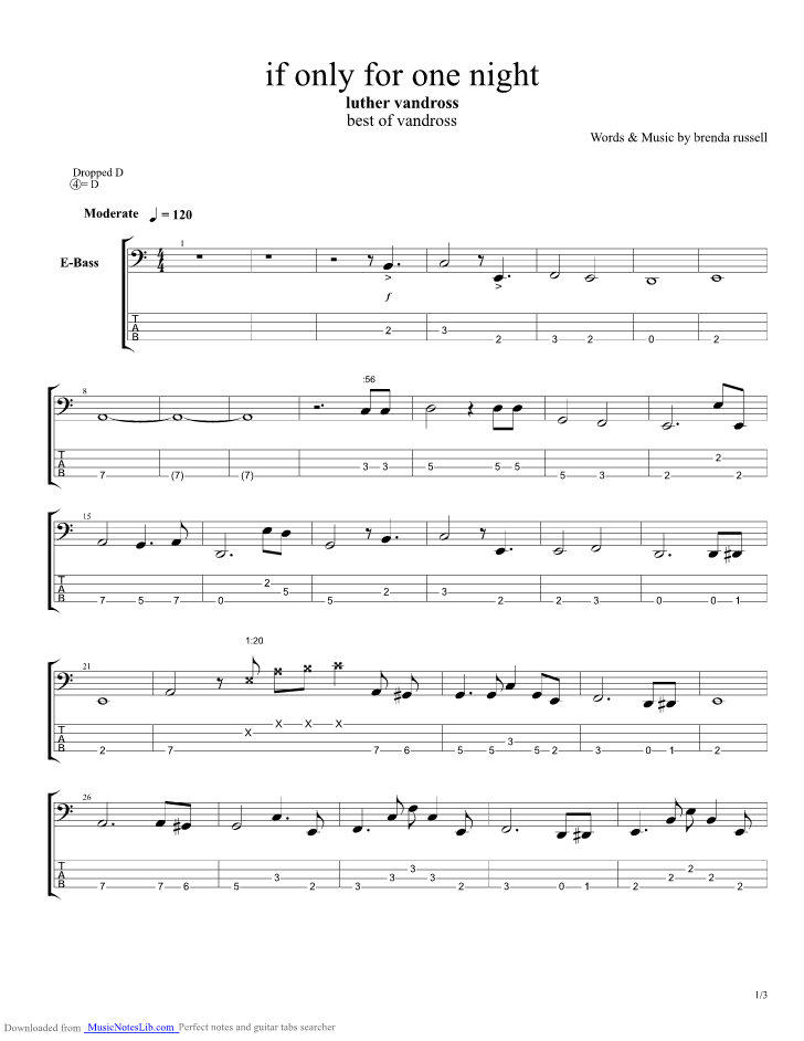 If Only For One Night Guitar Pro Tab By Luther Vandross