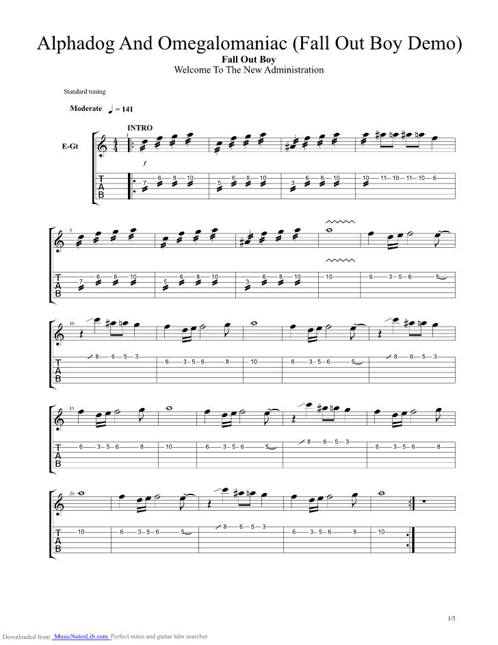 Alphadog And Omegalomaniac Guitar Pro Tab By Fall Out Boy