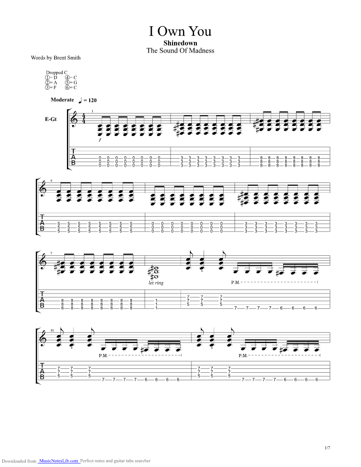 I Own You Guitar Pro Tab By Shinedown Musicnoteslib