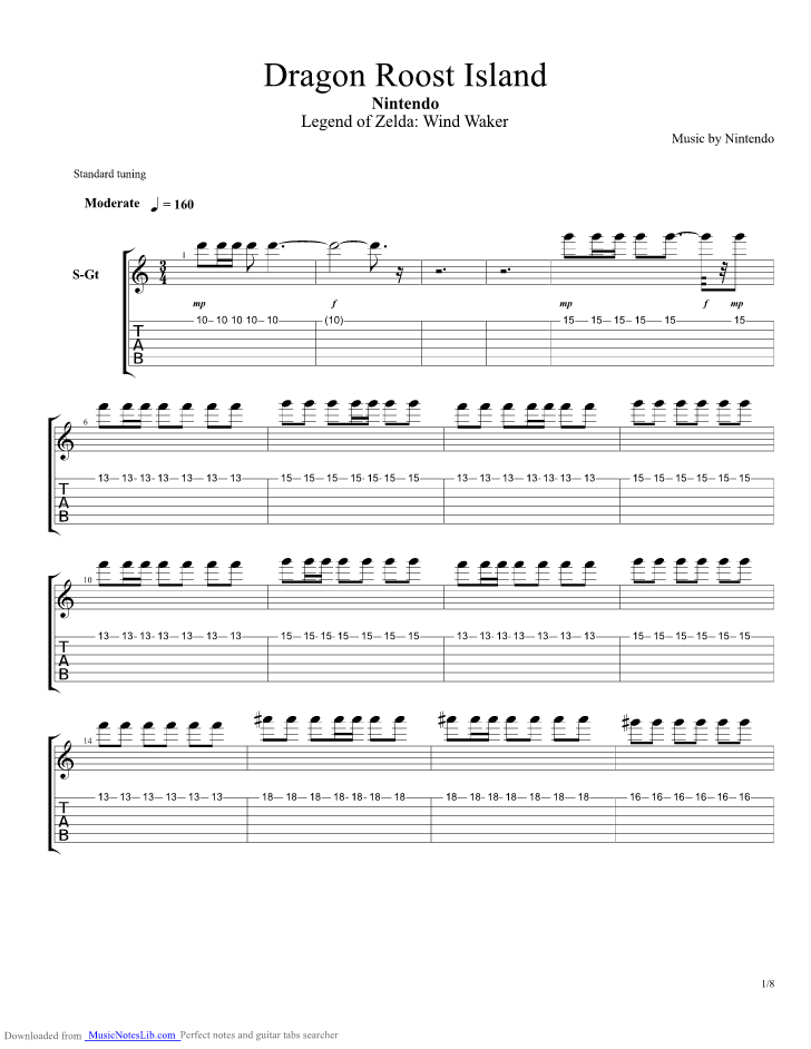 Legend Of Zelda - Wind Waker - Dragon Roost Island guitar pro tab by Misc Computer Games ...