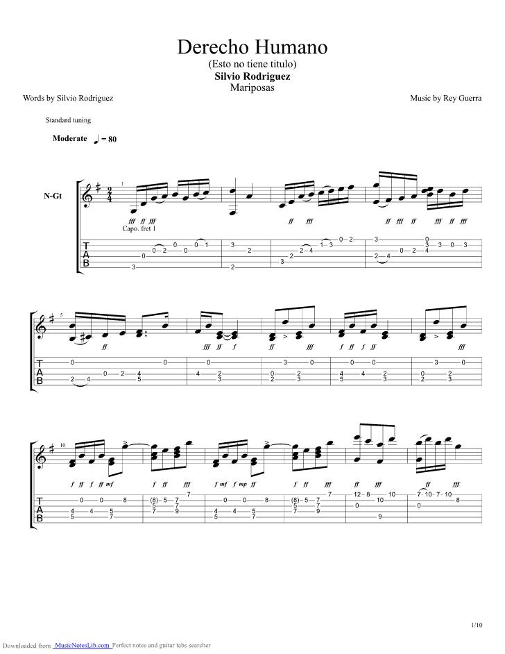 Derecho Humano Guitar Pro Tab By Silvio Rodriguez Musicnoteslib