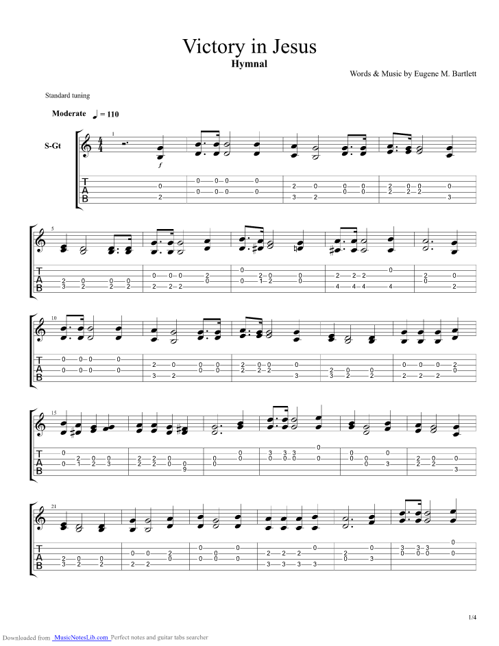 Victory In Jesus Guitar Pro Tab By Hymnal Musicnoteslib