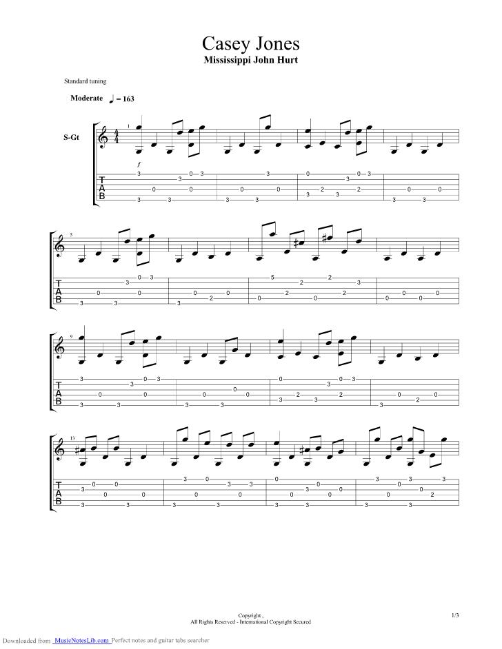 Casey Jones Guitar Pro Tab By Mississippi John Hurt Musicnoteslib