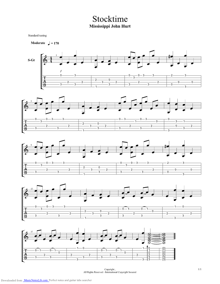 Stocktime guitar pro tab by Mississippi John Hurt