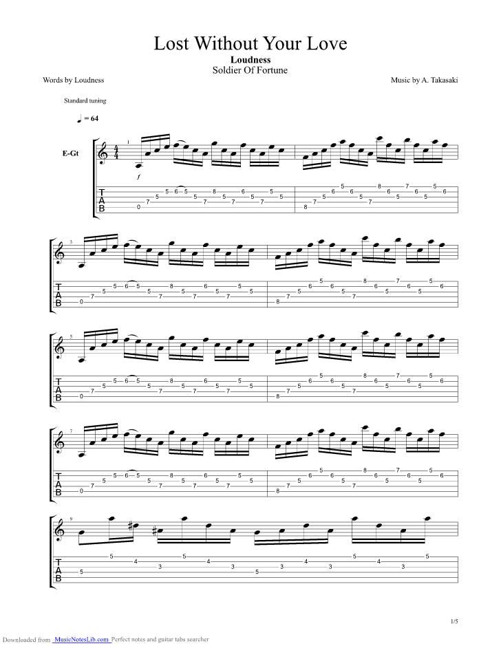 Lost Without Your Love Guitar Pro Tab By Loudness Musicnoteslib