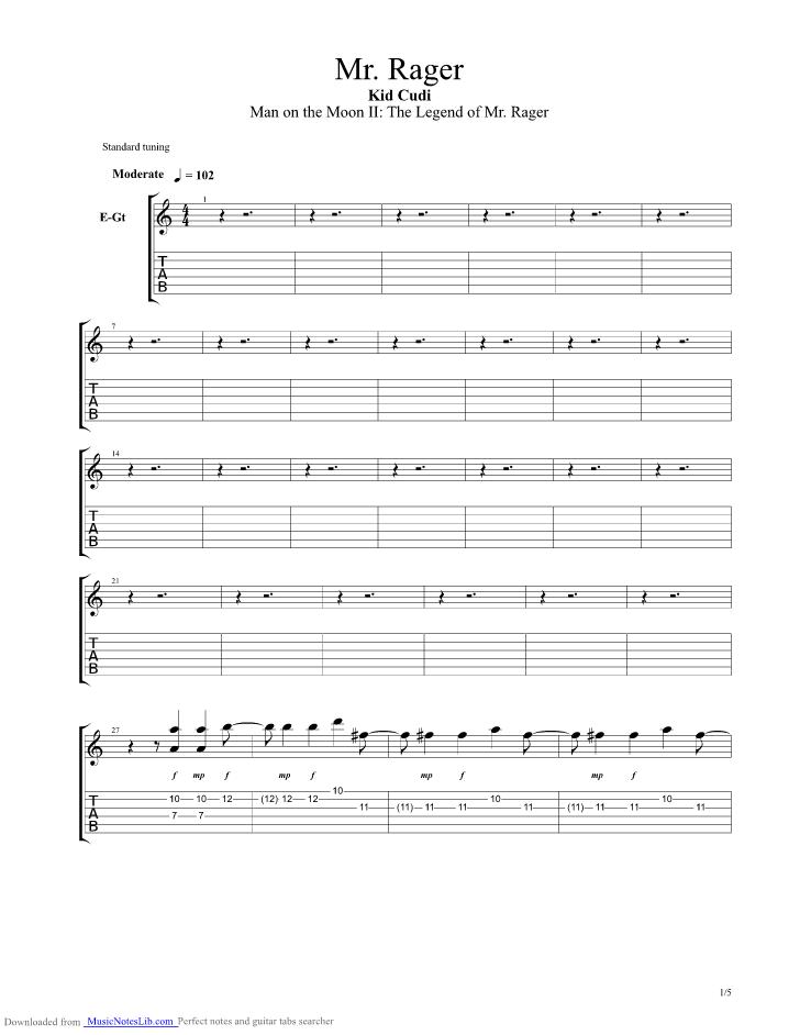 Mr Rager Guitar Pro Tab By Kid Cudi Musicnoteslib