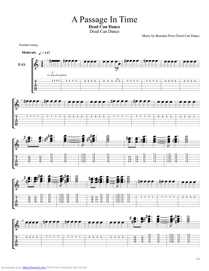 A Passage in Time guitar pro tab by Dead Can Dance @ musicnoteslib.com
