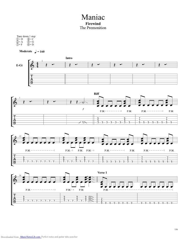 maniac guitar pro tab by firewind   musicnoteslib com