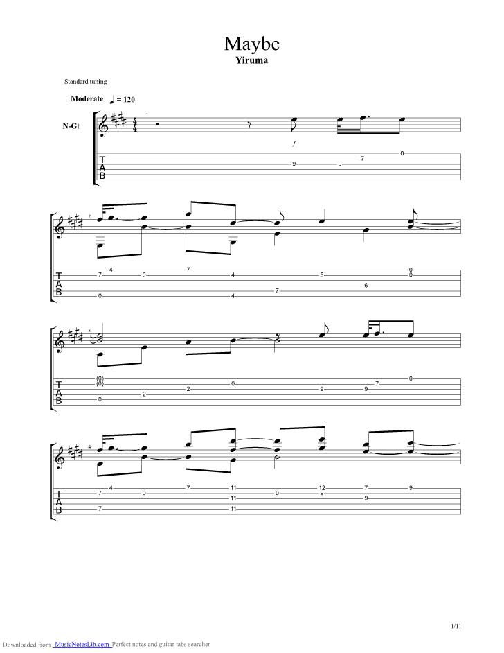 maybe guitar pro tab by Yiruma @ musicnoteslib.com