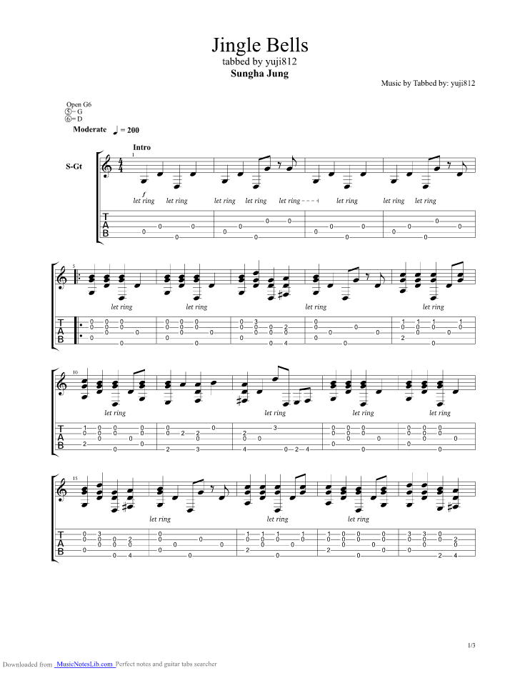 Jingle Bells Guitar Pro Tab By Sungha Jung Musicnoteslib