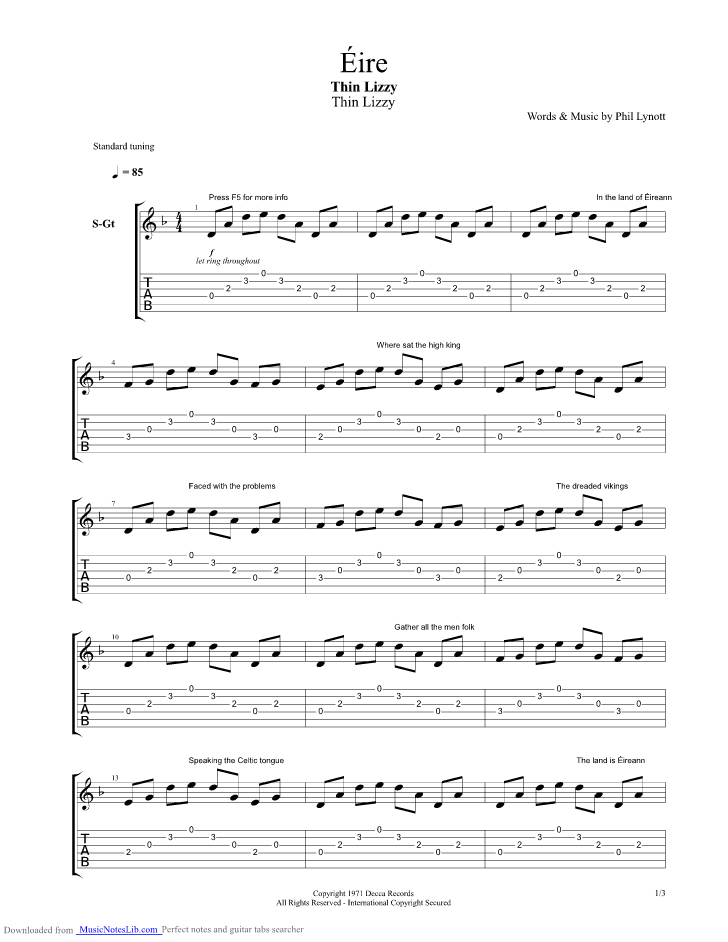 Eire Guitar Pro Tab By Thin Lizzy Musicnoteslib