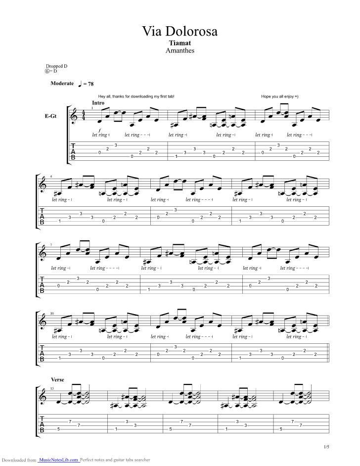 Via Dolorosa Guitar Pro Tab By Tiamat Musicnoteslib