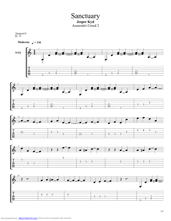 Sanctuary guitar pro tab by Jesper Kyd @ musicnoteslib.com