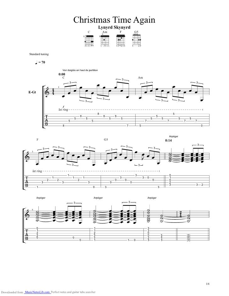 Christmas Time Again Guitar Pro Tab By Lynyrd Skynyrd