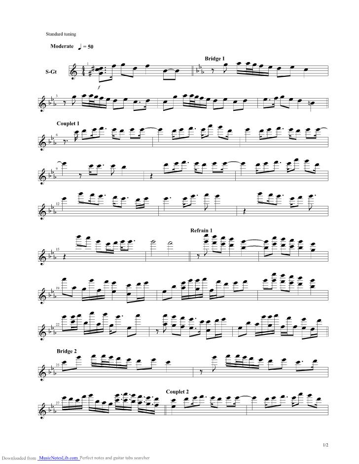 Linger guitar pro tab by Epica @ musicnoteslib.com