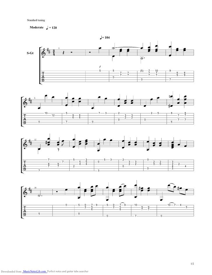 Isabel guitar pro tab by Francisco Tarrega @ musicnoteslib com