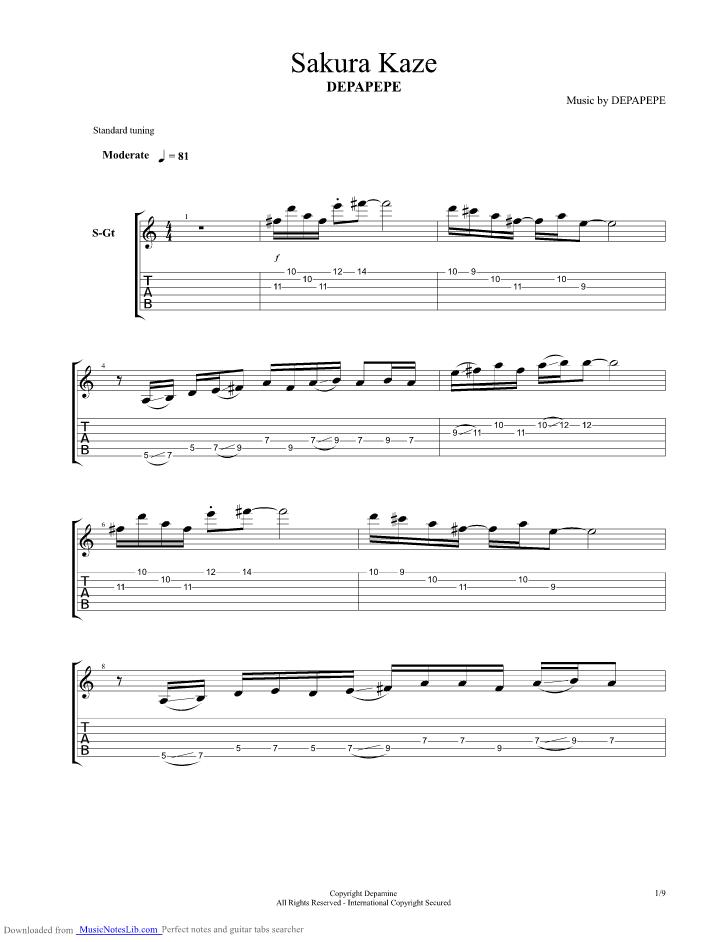 Sakura Kaze Guitar Pro Tab By Depapepe Musicnoteslib