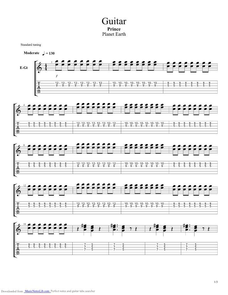 Guitar guitar pro tab by Prince @ musicnoteslib.com