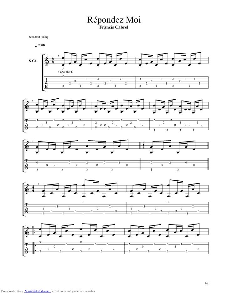 partition guitare cabrel